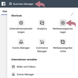 Start mit dem Business-Manager