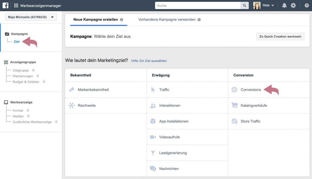 Facebook-Werbeanzeige erstellen - Marketingziele