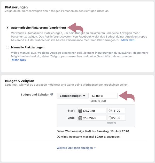 Budget für Facebook-Werbeanzeigen Laufzeitbudget