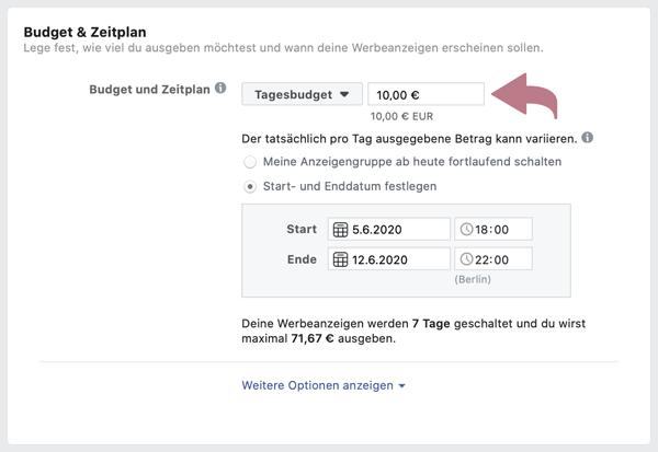 Budget für Facebook-Werbeanzeigen Tagesbudget